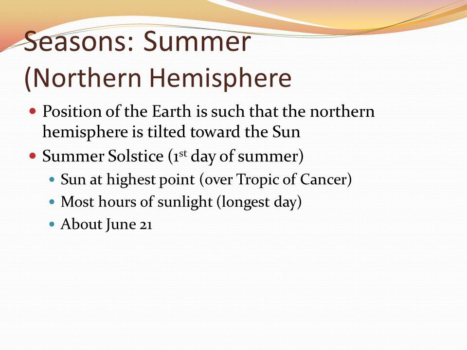 Seasons: Summer (Northern Hemisphere