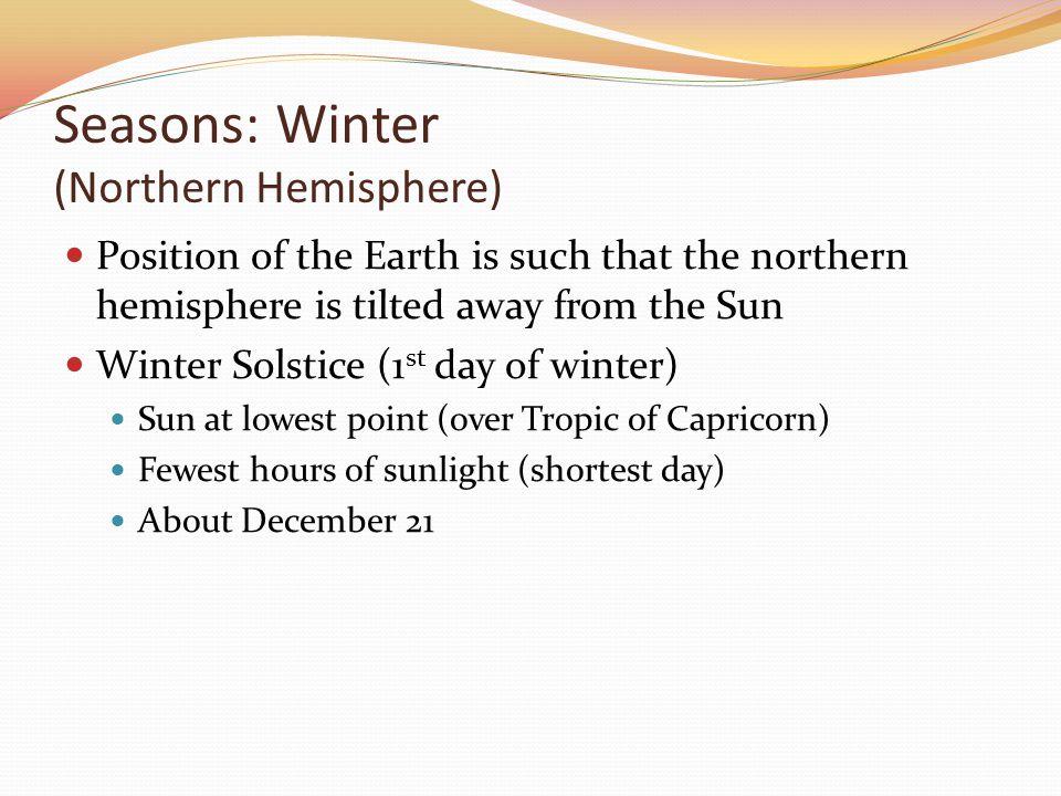 Seasons: Winter (Northern Hemisphere)