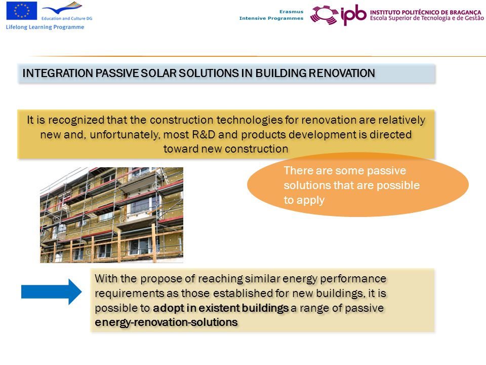 integration passive solar SOLUTIONS IN Building renovation