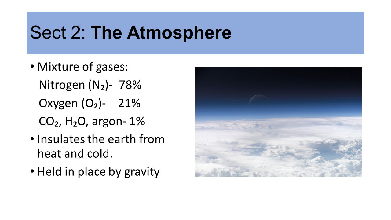 Sect 2: The Atmosphere Mixture of gases: Nitrogen (N₂)- 78%