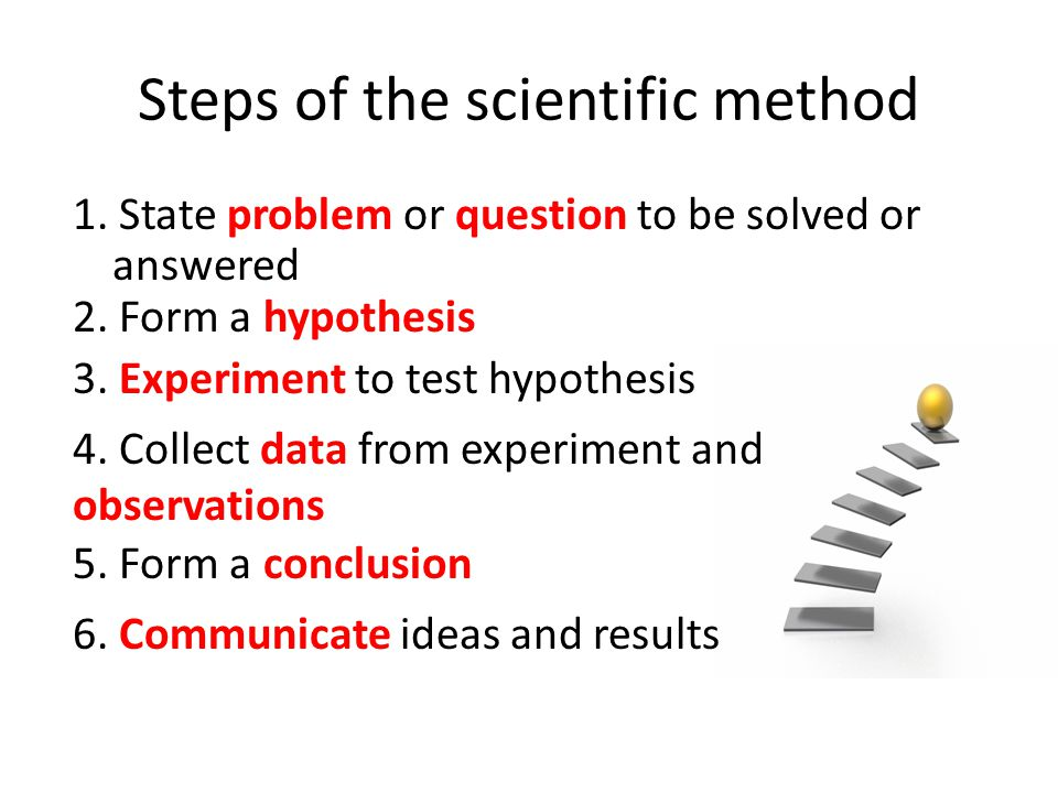 five steps of scientific method How to conduct experiments using the scientific method featured 78,194 70 5  the steps to the scientific method are: 1) pose a testable question 2.