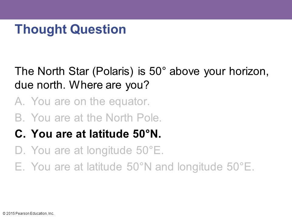 Thought Question The North Star (Polaris) is 50° above your horizon, due north. Where are you You are on the equator.
