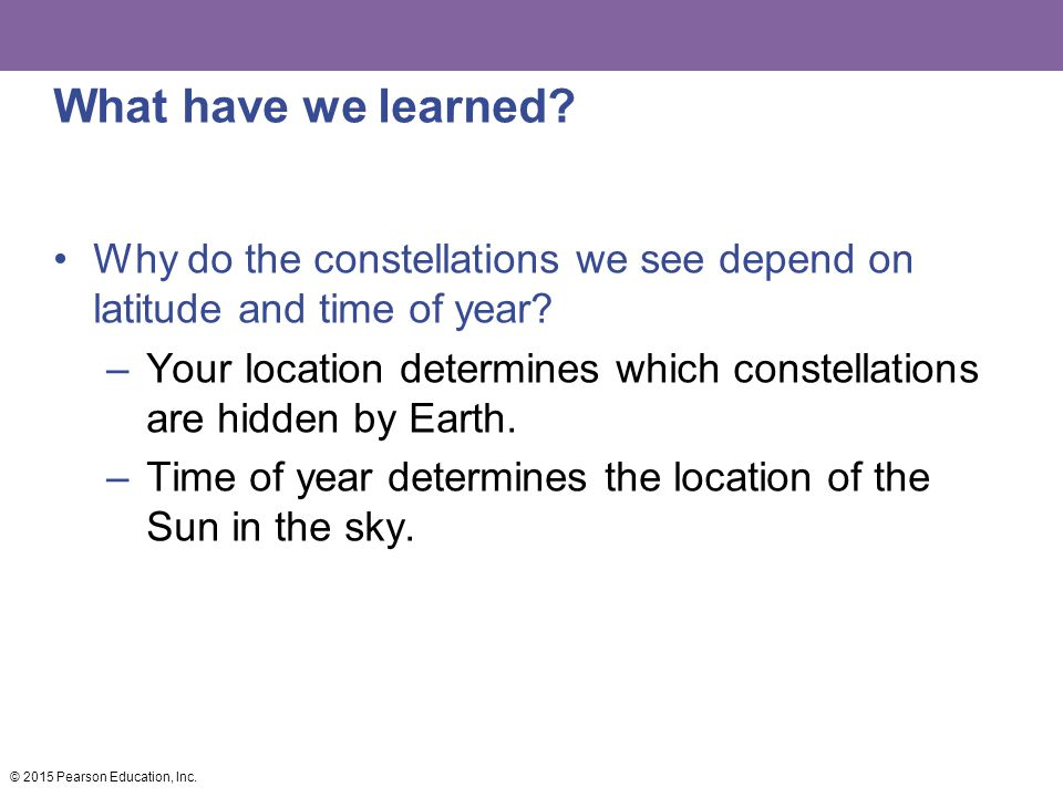 What have we learned Why do the constellations we see depend on latitude and time of year