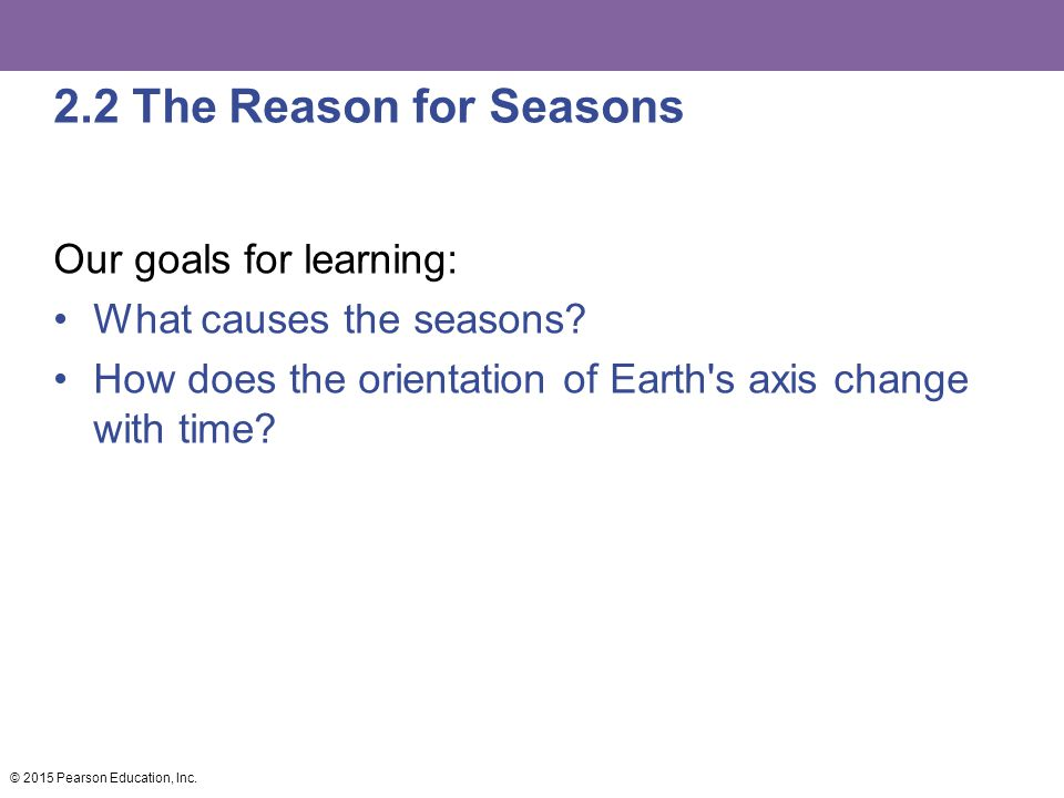 2.2 The Reason for Seasons Our goals for learning: