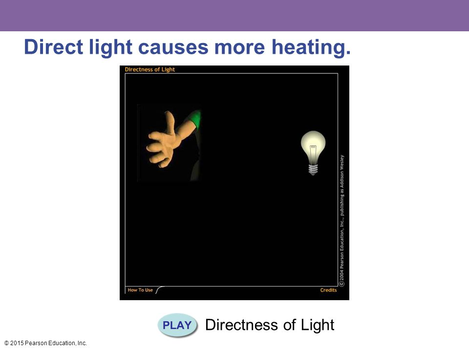 Direct light causes more heating.