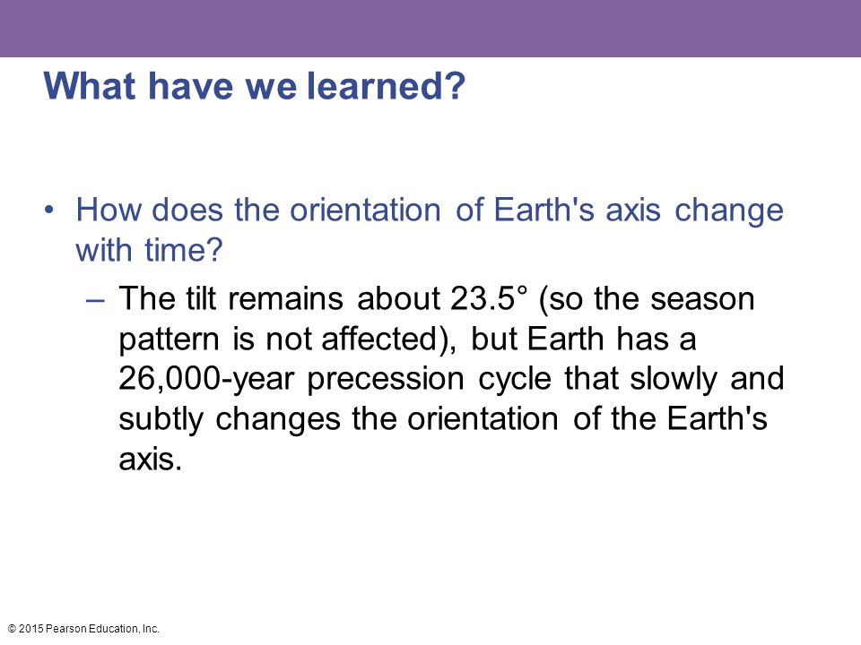 What have we learned How does the orientation of Earth s axis change with time