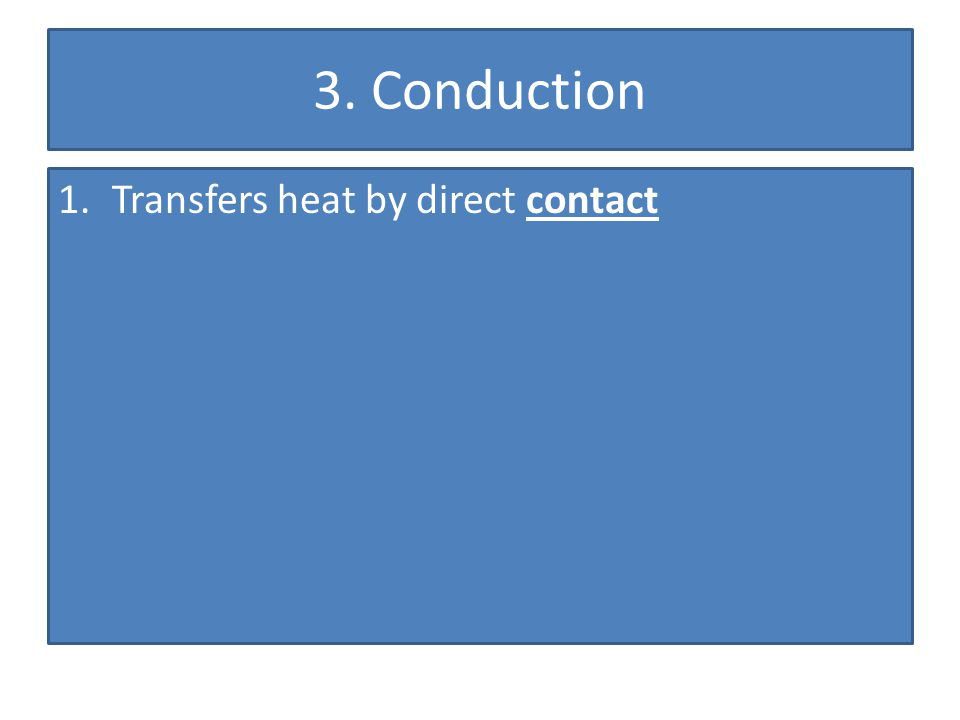 3. Conduction Transfers heat by direct contact