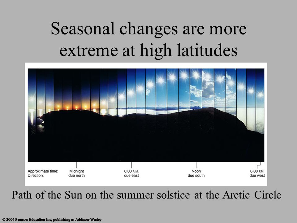 Seasonal changes are more extreme at high latitudes