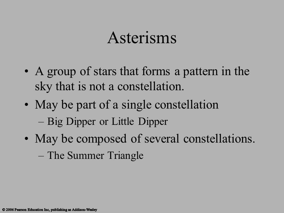 Asterisms A group of stars that forms a pattern in the sky that is not a constellation. May be part of a single constellation.