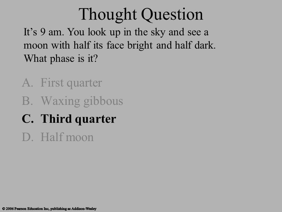Thought Question First quarter Waxing gibbous Third quarter Half moon