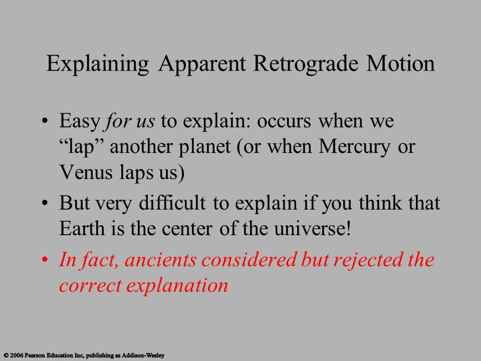 Explaining Apparent Retrograde Motion