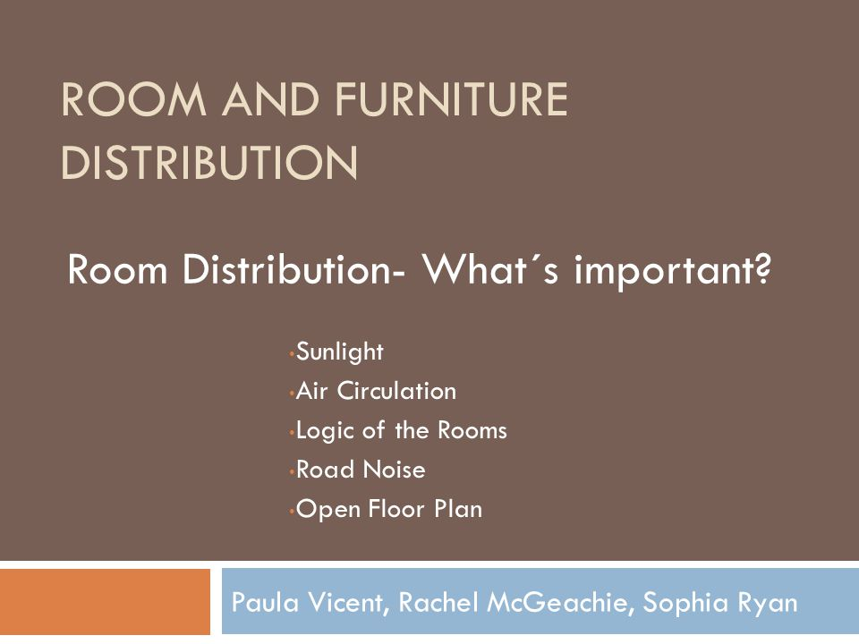 Room and Furniture Distribution