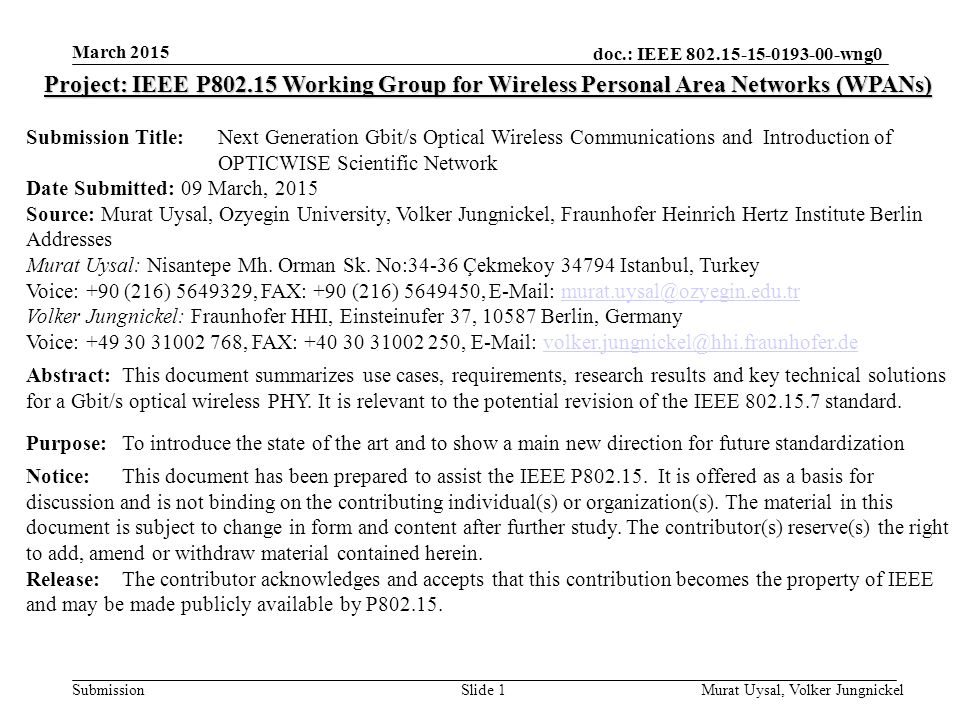 March 2015 Project: IEEE P802.15 Working Group for Wireless Personal Area Networks (WPANs)
