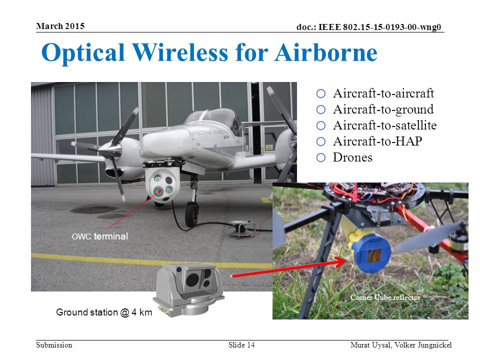 Optical Wireless for Airborne