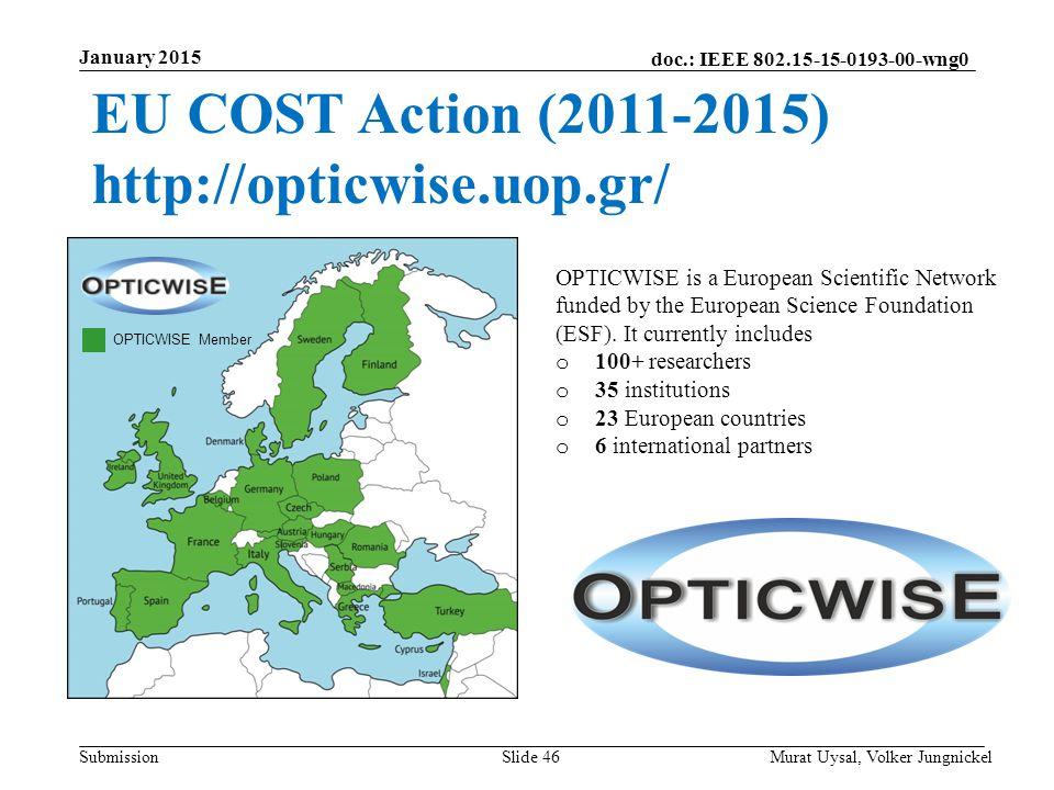 EU COST Action (2011-2015) http://opticwise.uop.gr/