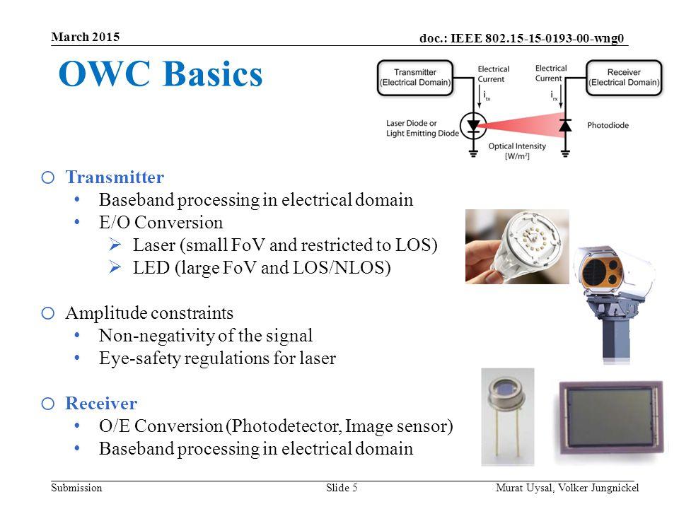 OWC Basics Transmitter Baseband processing in electrical domain