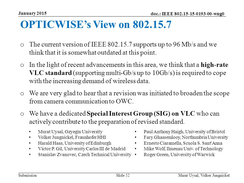 January 2015 OPTICWISE's View on 802.15.7.