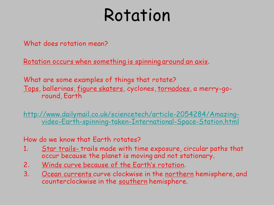 Rotation What does rotation mean