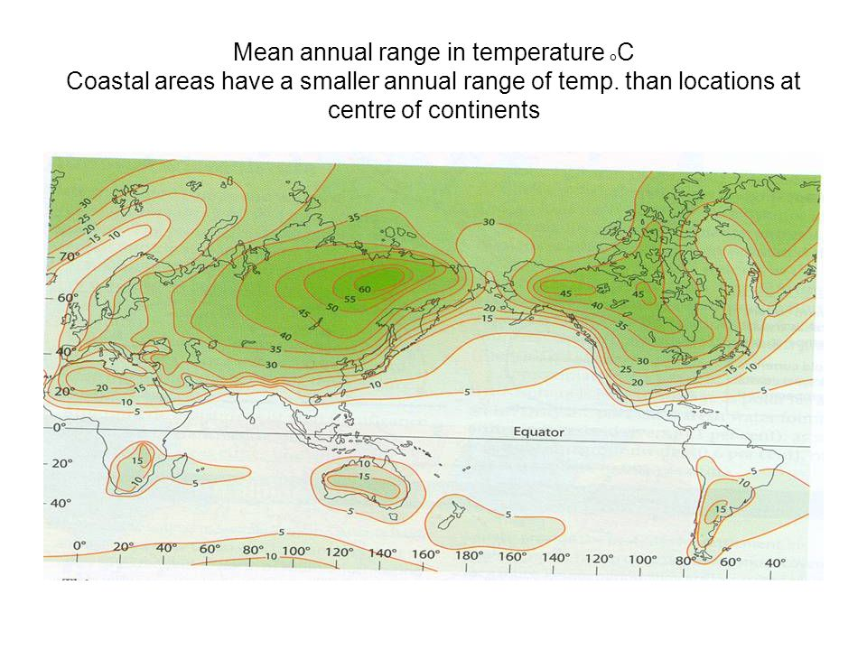 Mean annual range in temperature oC Coastal areas have a smaller annual range of temp.