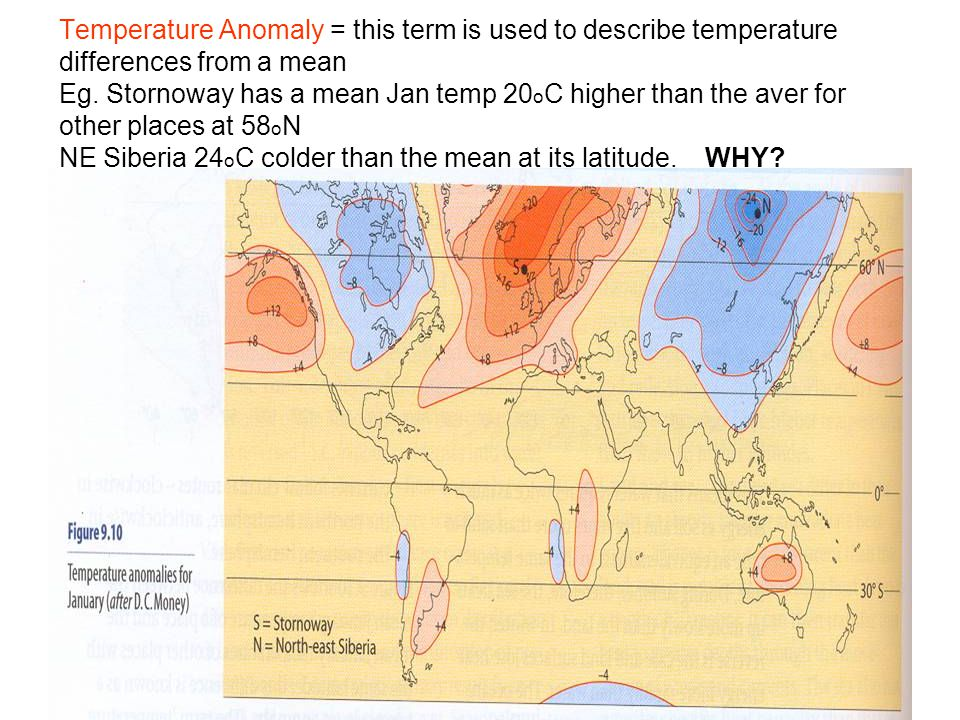 Temperature Anomaly = this term is used to describe temperature differences from a mean Eg.