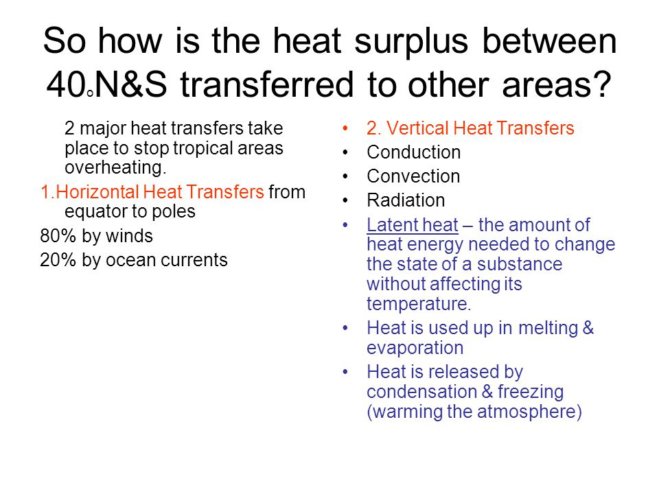 So how is the heat surplus between 40oN&S transferred to other areas