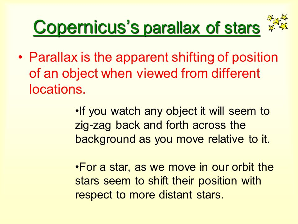 Copernicus's parallax of stars