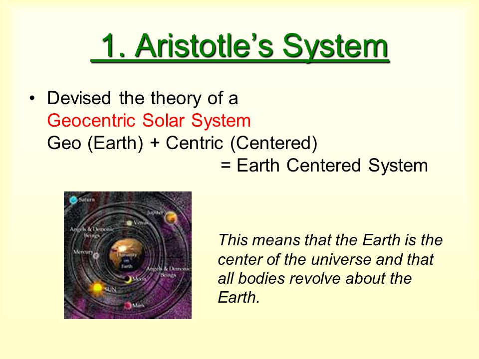 1. Aristotle's System Devised the theory of a Geocentric Solar System Geo (Earth) + Centric (Centered) = Earth Centered System.