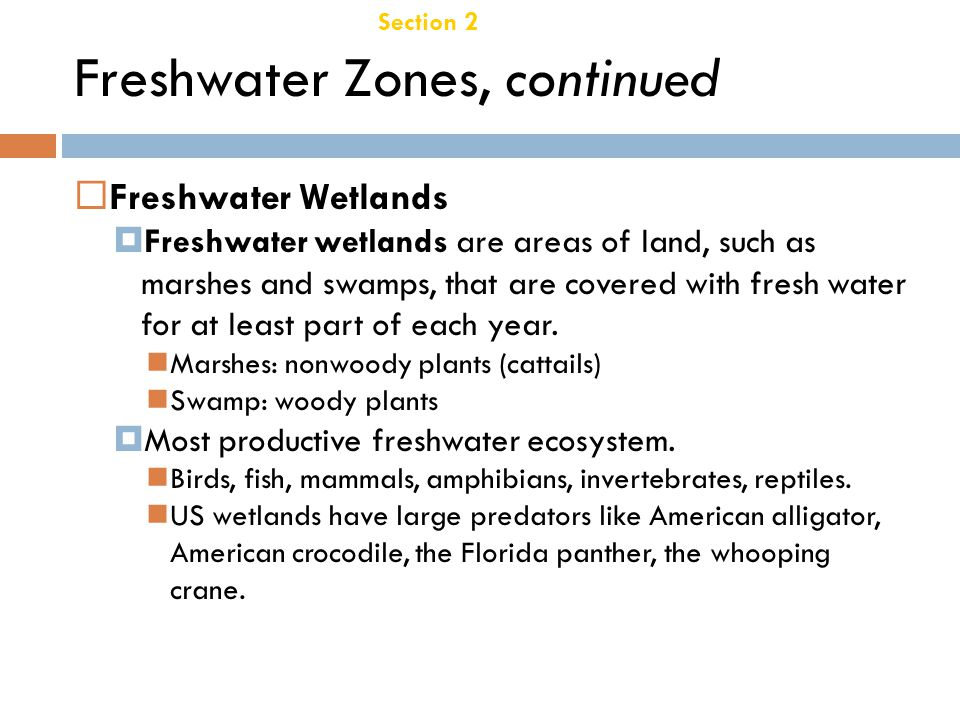 Freshwater Zones, continued