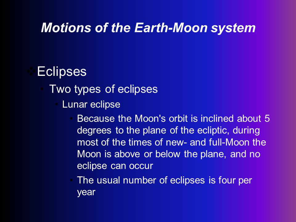 Motions of the Earth-Moon system