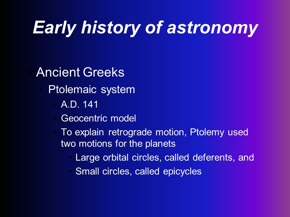 Early history of astronomy