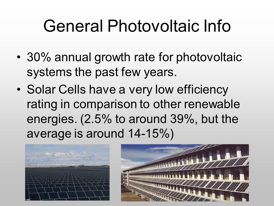 General Photovoltaic Info