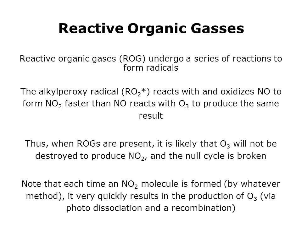 Reactive Organic Gasses