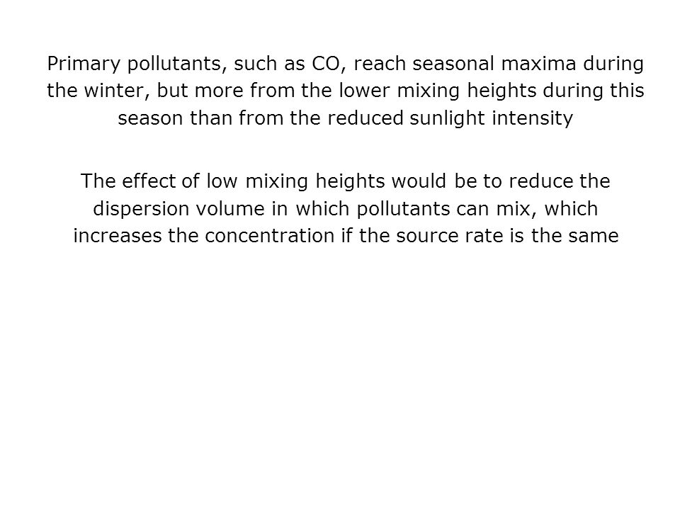 Primary pollutants, such as CO, reach seasonal maxima during the winter, but more from the lower mixing heights during this season than from the reduced sunlight intensity