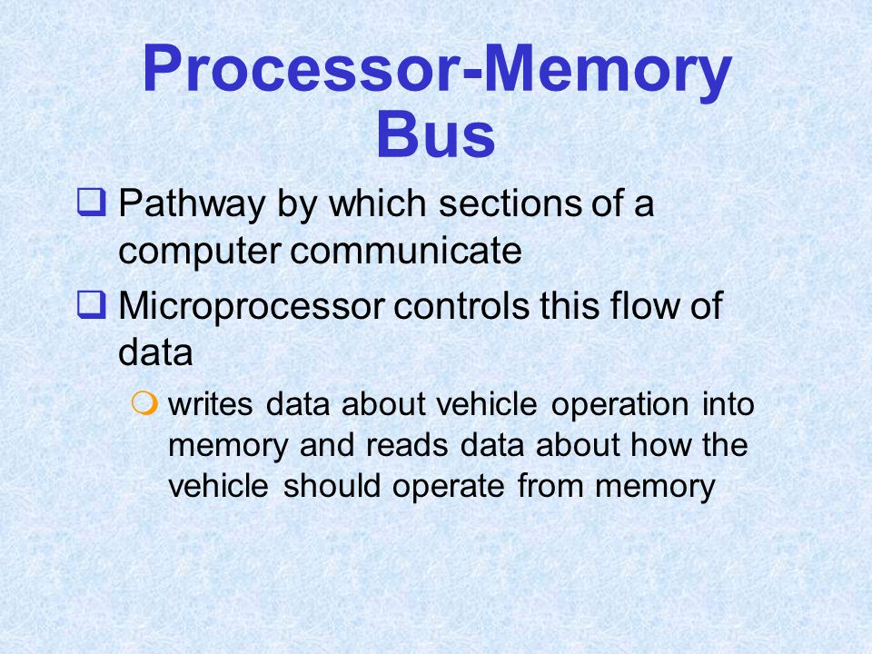 Processor-Memory Bus Pathway by which sections of a computer communicate. Microprocessor controls this flow of data.