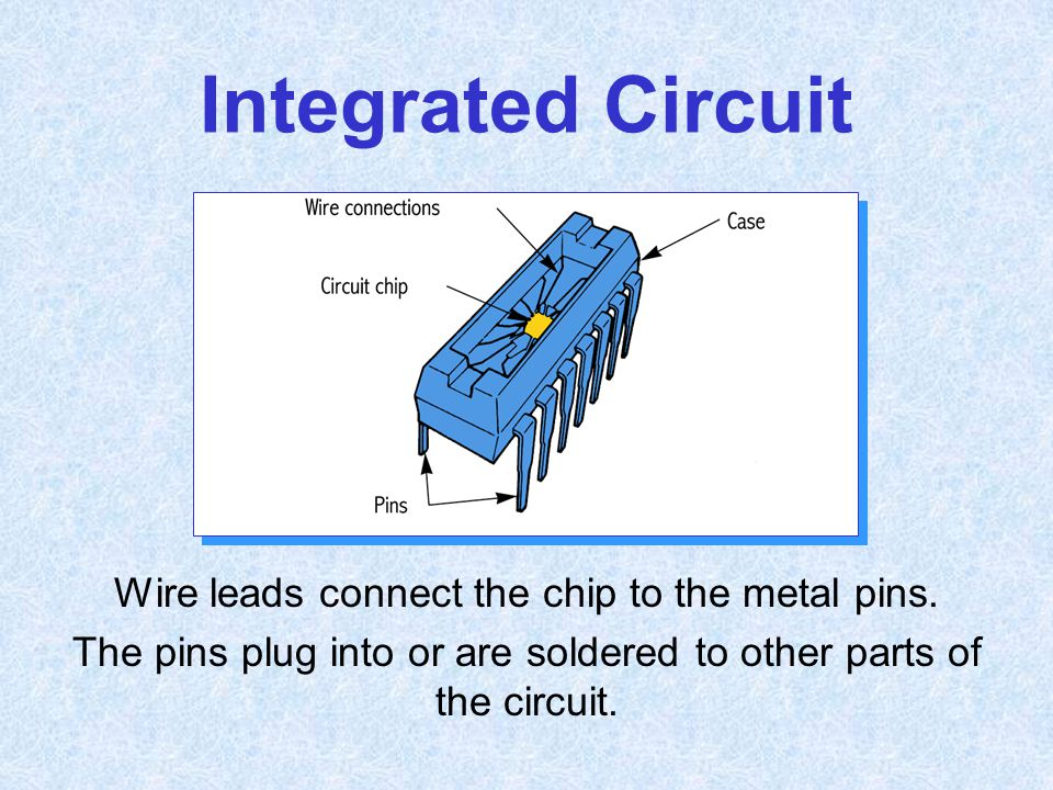 Integrated Circuit Wire leads connect the chip to the metal pins.