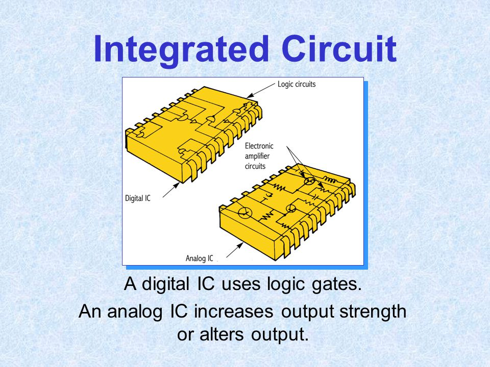Integrated Circuit A digital IC uses logic gates.