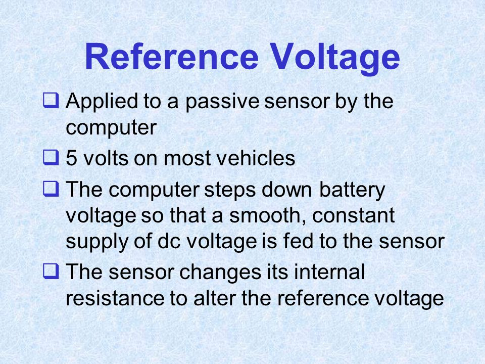 Reference Voltage Applied to a passive sensor by the computer