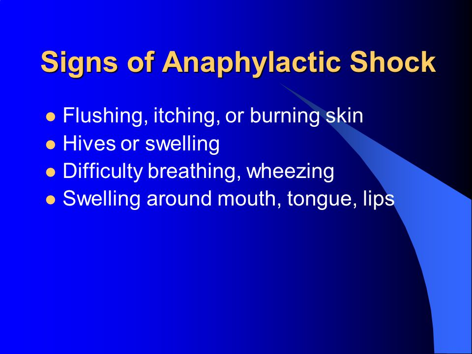 Signs of Anaphylactic Shock