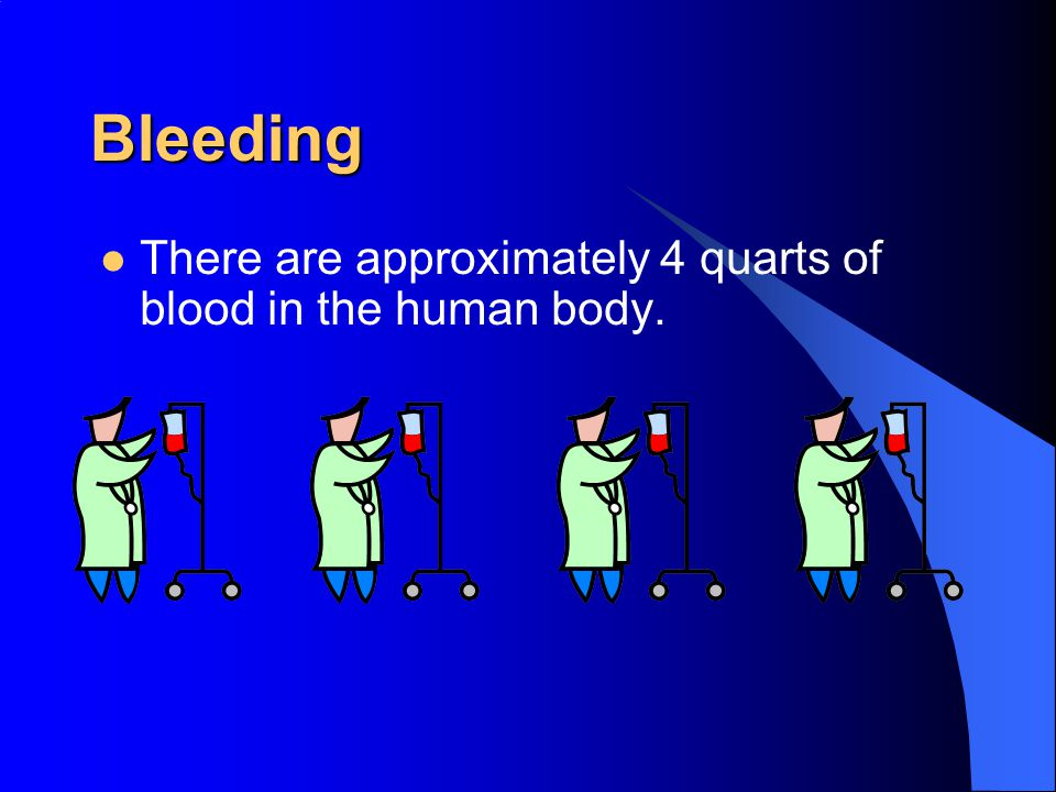 Bleeding There are approximately 4 quarts of blood in the human body.