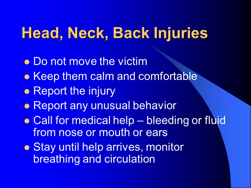 Head, Neck, Back Injuries