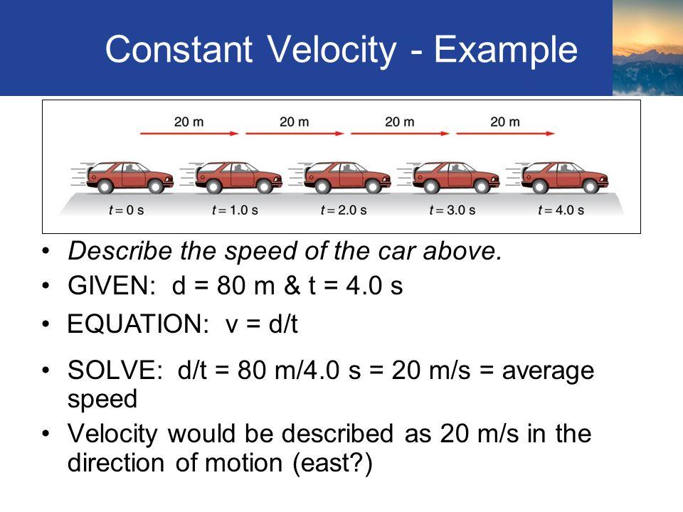Constant Velocity - Example