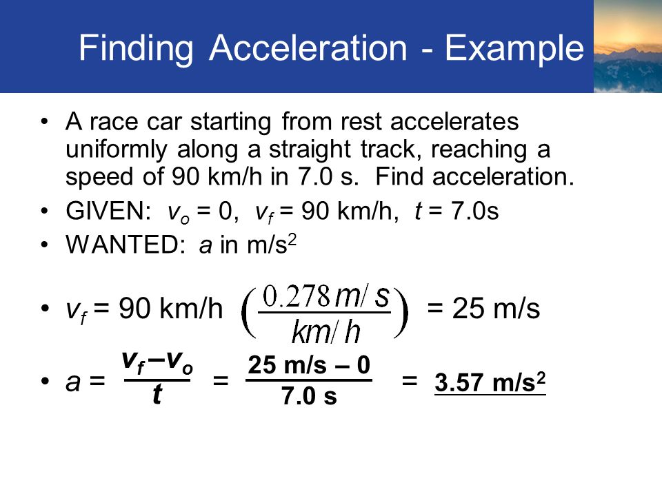 Finding Acceleration - Example
