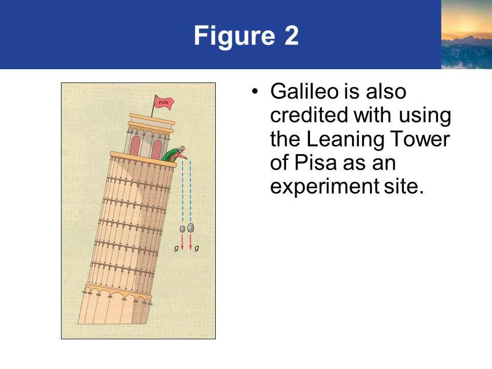 Figure 2 Galileo is also credited with using the Leaning Tower of Pisa as an experiment site.