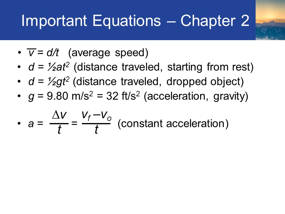 Important Equations – Chapter 2