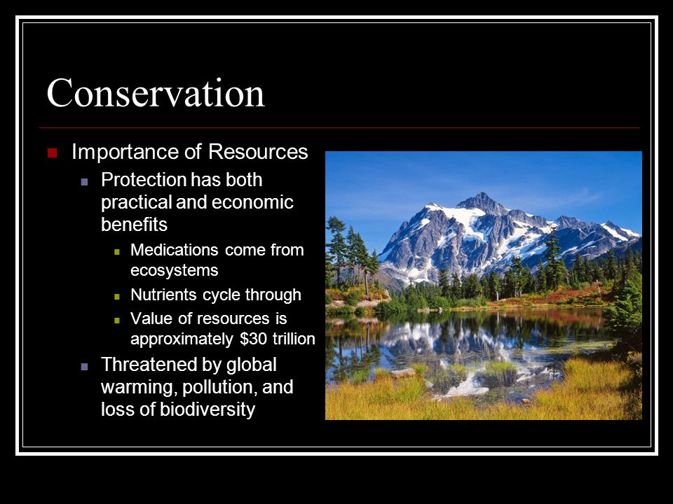 Conservation Importance of Resources