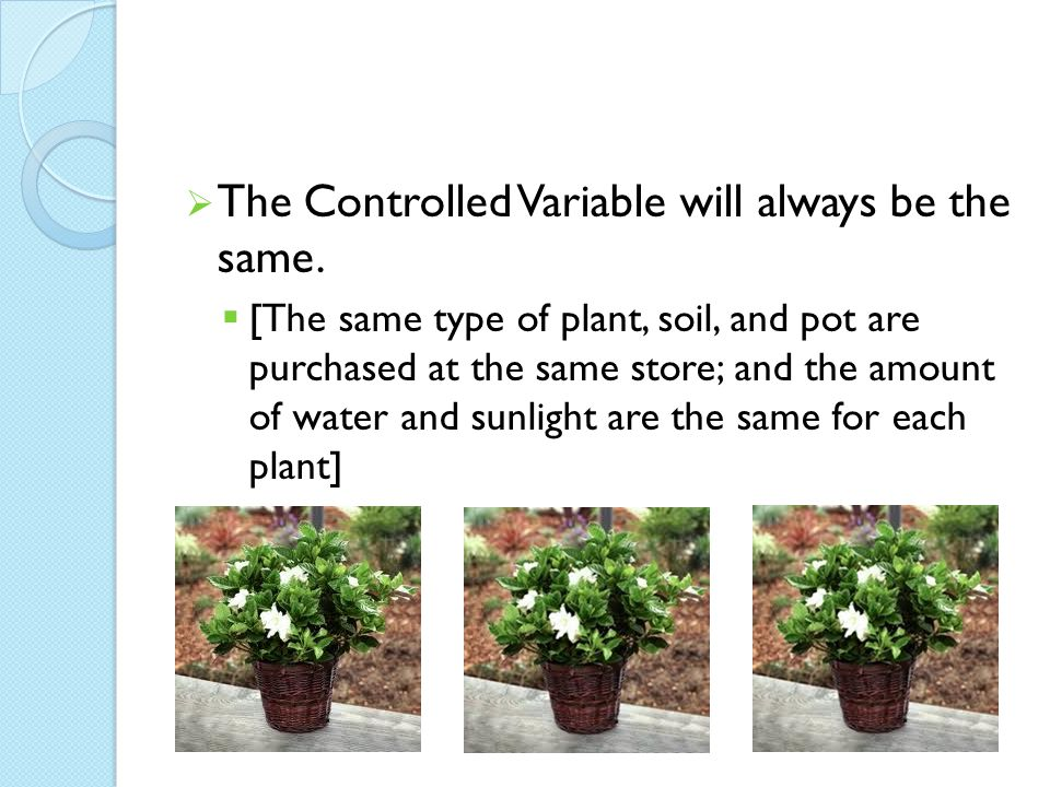 The Controlled Variable will always be the same.