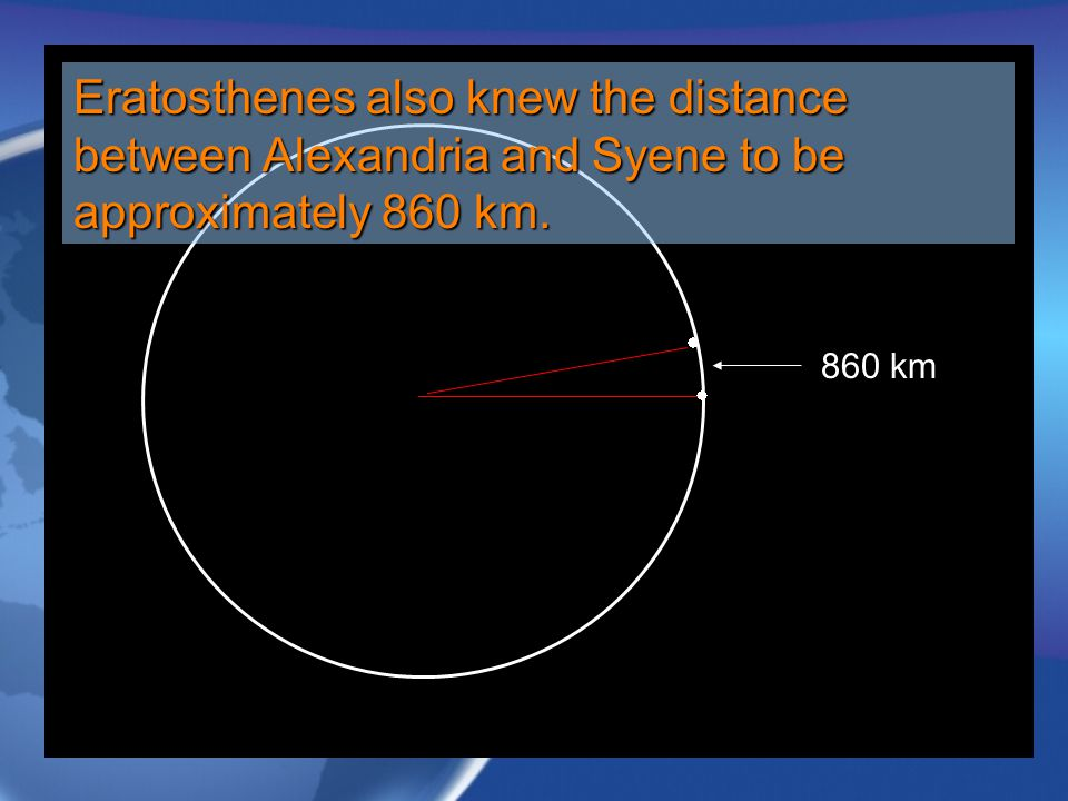 Eratosthenes also knew the distance between Alexandria and Syene to be approximately 860 km.