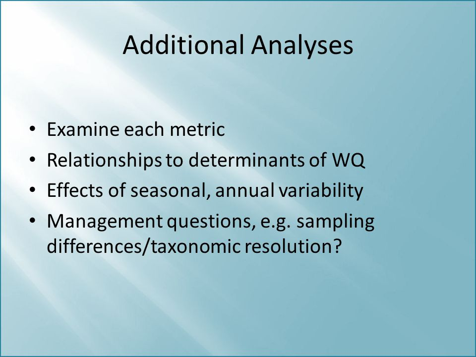 Additional Analyses Examine each metric