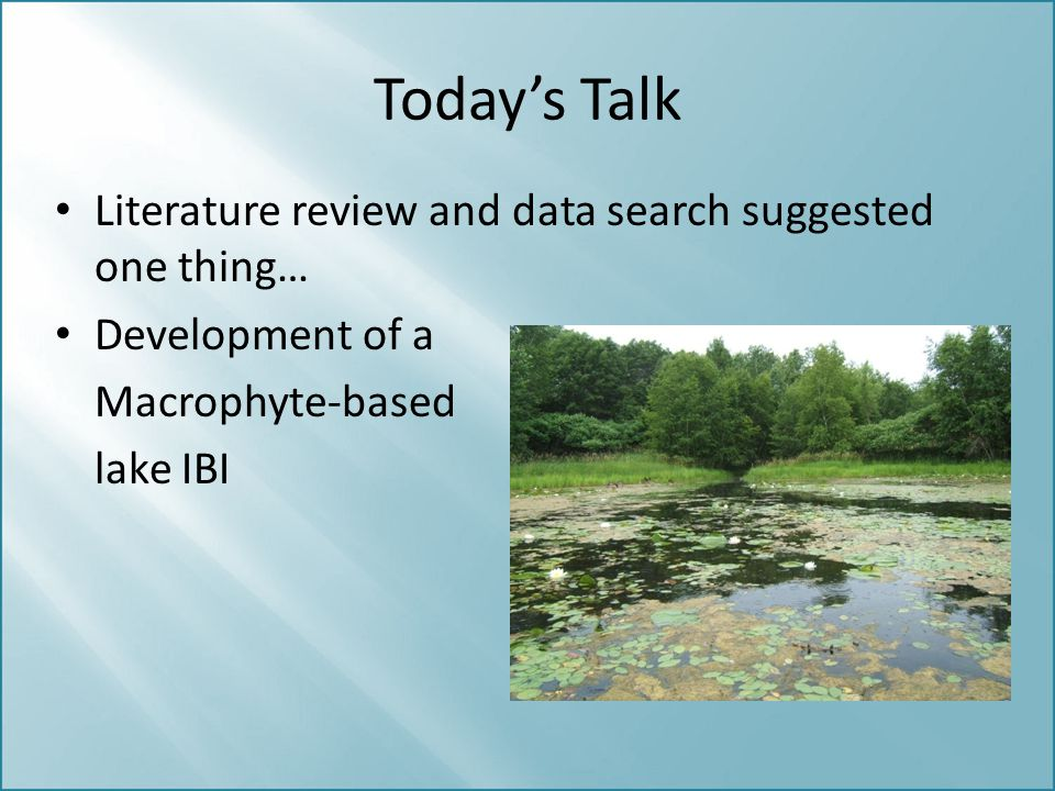 Today's Talk Literature review and data search suggested one thing…