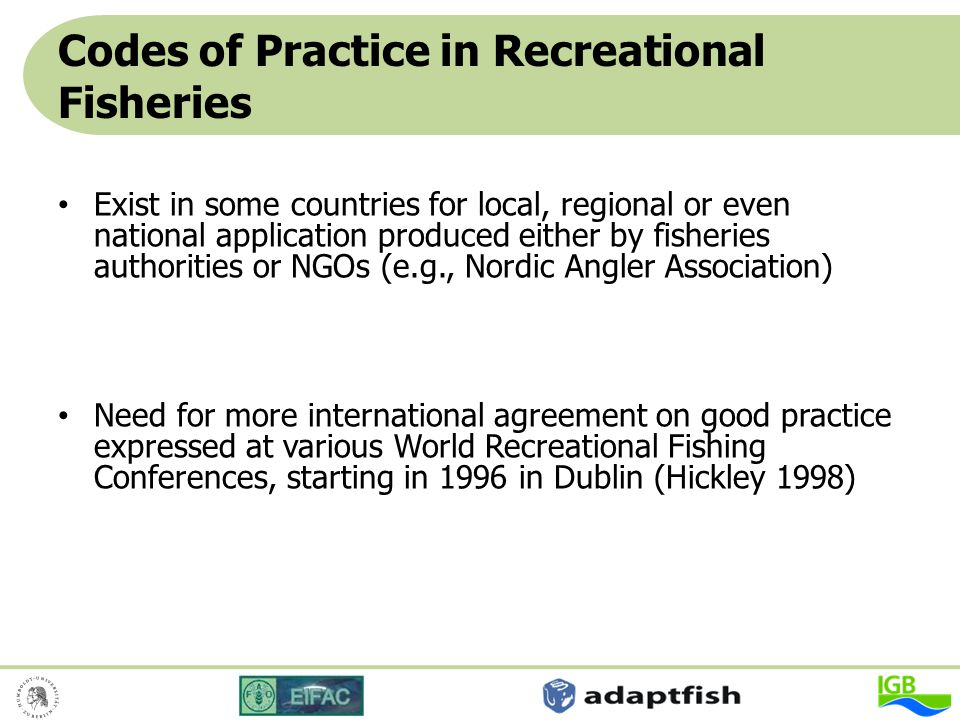 Codes of Practice in Recreational Fisheries